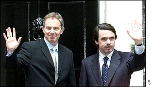 Tony Blair y Jos� Mar�a Aznar