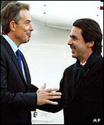 Tony Blair and Jose Maria Aznar on Thursday evening in Madrid