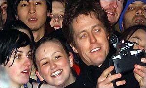 Hugh Grant with fans