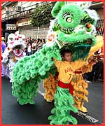The traditional dragon dance
