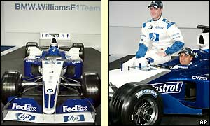 The FW25 in all it's glory as drivers Ralf Schumacher and Juan Pablo Montoya pose with the new model
