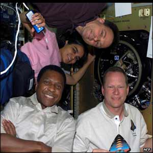 Clockwise from bottom right: David Brown, Michael Anderson, Kalpana Chawla and Ilan Ramon