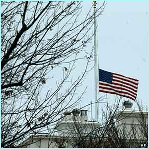At the White House in Washington, the American flag flies at half-mast out of respect for those who lost their lives