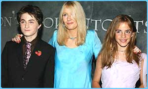 JK Rowling with Dan Radcliffe and Emma Watson