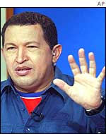 Venezuelan President Hugo Chavez gestures during in his weekly TV and radio program at Miraflores Presidential Palace in Caracas, Venezuela