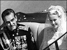 Prince Rainier and Princess Grace on their wedding day
