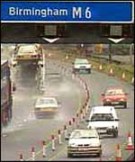 Traffic on the M6 motorway in Birmingham