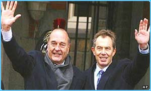 French President Jacques Chirac and UK Prime Minister Tony Blair have been in talks