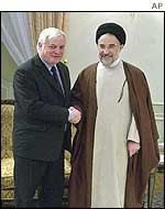 Chris Patten with Mohammad Khatami