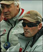 Alinghi's Brad Butterworth (left) and skipper Russell Coutts