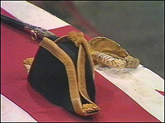 Cocked hat of the Admiral of the Fleet on Lord Mountbatten's coffin