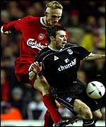 Liverpool's Sami Hyypia and Crystal Palace's Dougie Freedman