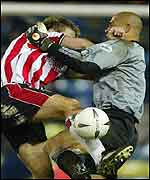 James Beattie clashes with Tony Warner