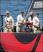 Skipper Russell Coutts (centre) and the Alinghi afterguard
