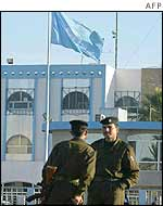 Guards outside UN headquarters in Baghdad
