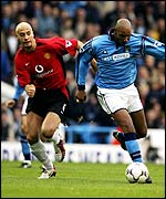 Manchester United defender Rio Ferdinand failed to contain the threat of Man City striker Nicolas Anelka