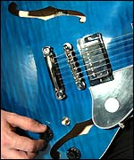 Close-up of Gibson electric guitar