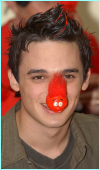 Gareth Gates shows off the new red nose which is sporting a new hair style- a bit like Gareth himself!