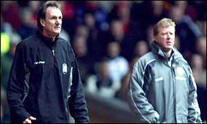 Phil Thompson and Steve McClaren instruct form the sidelines