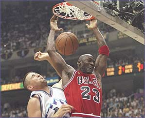 Jordan slams in another basket for the Bulls