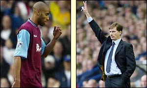 Kanoute is sent off for slapping Seth Johnson, leaving West Ham down to 10 men