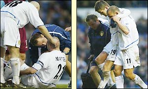 Matteo and Bakke both limp off the pitch with injuries during added time at Elland Road