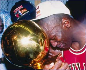 Michael Jordan sheds a tear as the Chicago Bulls win the 1991 NBA title