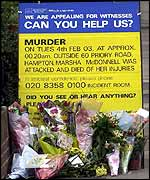 Police notice near the murder scene