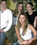 Ashley Clifford (front seated) Laura Scott (left), Lucy Packman (centre) and Joanna Guttridge (right