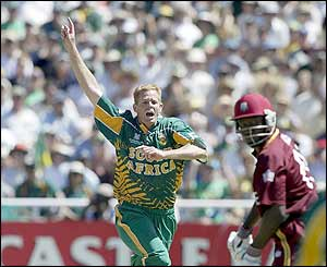 Shaun Pollock takes the first two wickets as West Indies struggle in the opening game of the tournament