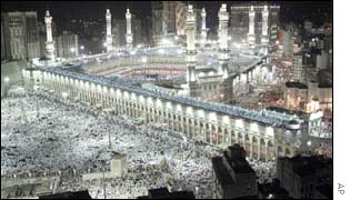 Muslims gathering round the holy Kaaba at Mecca