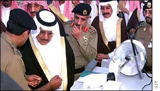 Saudi interior minister Prince Naif Abdulaziz and security officers