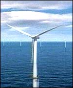 A graphics impression of the north Wales offshore windfarm scheme