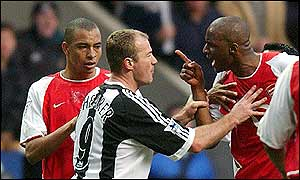 Arsenal's Patrick Vieira has words with Newcastle's Alan Shearer