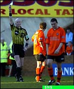 Dundee United's Charlie Miller was sent off in the second-half