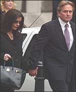 Catherine Zeta Jones and Michael Douglas leave the High Court
