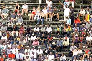 Spectators at the Harare Sports Club watching Zimbabwe v Namibia