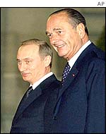 Vladamir Putin and Jacques Chirac in Paris