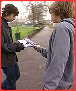 Dan handing out anti-war leaflets