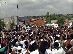 Crowds in Soweto celebrating Mandela's release