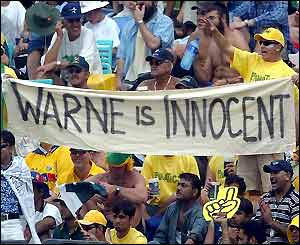 The Australian fans show their support for Shane Warne