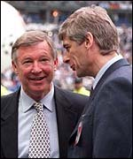 Sir Alex Ferguson (left) and Arsene Wenger before last season's Champions League final