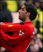 Ruud van Nistelrooy celebrates scoring for Man Utd