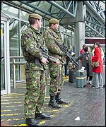 Soldiers outside Terminal Three