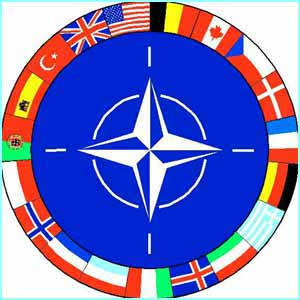 The official graphic of the member flags and the Nato emblem