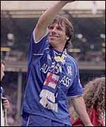 Gianfranco Zola celebrates Chelsea's FA Cup win at Wembley in 2000