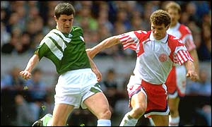 Roy Keane in action against Denmark in 1993