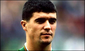 Roy Keane lines up for his first Ireland cap
