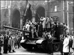 Hungarians 'freedom fighters' take over a Soviet tank in October 1956