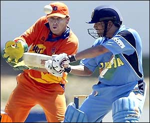 Sachin Tendulkar is cuaght off his glove by Netherlands wicket-keeper Jeroen Smits